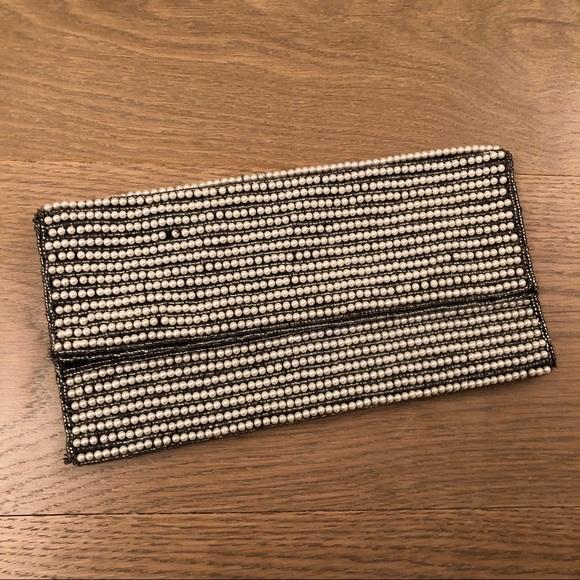 Handbags - Pearl Beaded Folded Clutch